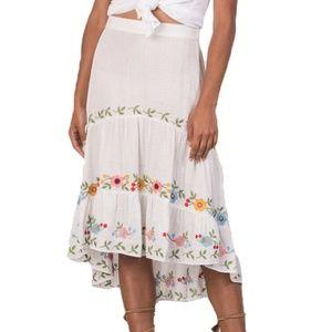 New Margaret O'Leary White BoHo Floral Gauze Skirt